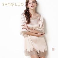 Silk nightgown sleepwear luxury sexy women's three quarter sleeve lace decoration mulberry silk nightgown