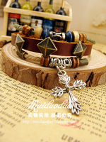 women vintage bracelet cross pendant rivet punk prettifier fashion