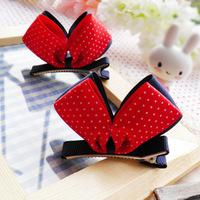 High quality child hair accessory three-dimensional ribbon bow side-knotted clip baby hair clips dot red blue