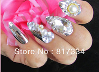3D diamond false nails Crystal Fake Nails Design Pointed Mirror Style Christmas gifts Wedding Photography Bride Manicure