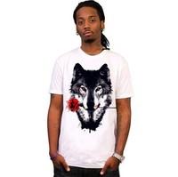 Rock Men's Short Sleeve Tee T Shirt Wolf With Rose/ Novelty Punk T Shirt Man M-L-XL-XXL