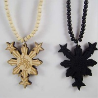 2013 New Fashion Philippines Figure Pendant Wooden Beads Rosary Necklace Beaded Chain Hip-Hop