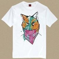 Men's Short Sleeve Tee T Shirt Bandit Wolf/ Gangster Mask Wolf T Shirt Man