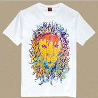 Men's Short Sleeve Tee T Shirt Royal Lion/ Novelty T Shirt Man King of Forest