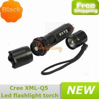 10x Aluminum New Compass Black Cree LED Xml-Q5 Flashlight Torch Waterproof 3modes kidproof design 350lm 18650 Lamp free shipping