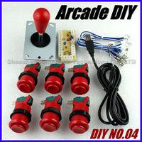 New Arcade DIY Accessories Zero Delay USB Encoder PC to Joystick + 1 x Happ Type Joystick + 6 x Push Buttons For MAME Games