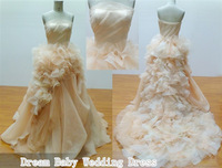 Free Shipping 2013 the new style, real sample DBY-024 Gorgeouse Train Strapless Neckline Lace Wedding Dress /Custom made
