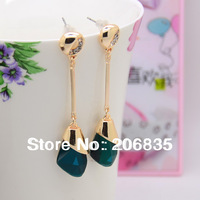 Fashion Real Gold Plated Drop Earring With Triangle Earring With Crystal Rinestone
