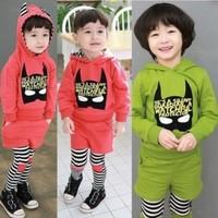 5 sets/lot Baby Boy/Girl striped tracksuits Kids Batman sports suits Hooded sweatshirt+legging pants 2pcs children's clothing