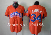 2013 All Star National League 34 Bryce Harper Orange Baseball Jerseys Mix Order