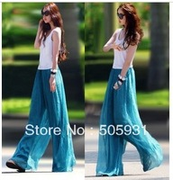 Free Shipping 2013 Fashion Wide Leg Pants Chiffon Ubiquitous Culottes Casual Pants Bohemia