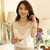 Free shipping New arrival 2015 quality lace diamond laciness women's sleeveless T-shirt dj372b