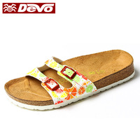 Devo summer cork slippers flat home slippers lovers shoes slip-resistant sandals female 2604 a53
