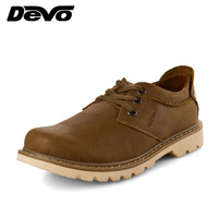 Devo male cowhide casual shoes fashion shoes low genuine leather lacing shoes 2805