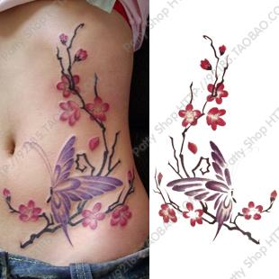 Fashion New  Women's  Big Waterproof Butterfly Wintersweet Stickers Make Up Sticker Beauty Temporary Tattoo Stickers Drawing