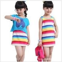 Children's clothing female child skirt summer princess Twinset dress set