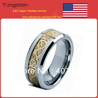 Free Shipping USA HOT SALES!Top Quality E&C Jewelry Brand 18k Golden Dragon Tungsten Carbide Ring Men's Classic Wedding Band