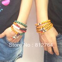 New arrival product 2013 jewelry Wholesale 108*8mm imitation sandalwood beaded wrap bracelets Christmas gift Buddha faith charms
