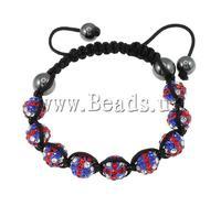 Free shipping!!!Rhinestone Shamballa Bracelets,Men Fashion Jewelry, Clay, with Wax Cord & Non-magnetic Hematite, handmade