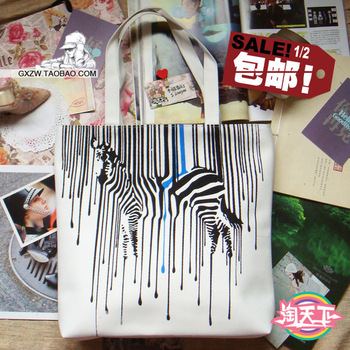 Bags large zebra canvas bags one shoulder handbag animal bags preppy style bag