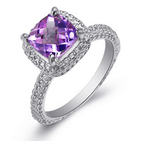 Volcano 925 silver natural amethyst ring female birthday gift girlfriend gifts sr1388a