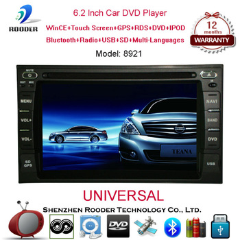 2 din 6.2 inch universal car pc radio player with usb mp3 bluetooth cd fm gps navigation for all cars