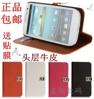 For samsung   gt-i9300 9308 genuine leather mobile phone protective case 19308 holsteins side flip shell 19300
