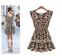 Women's summer 2013 sweet slim fashion leopard print vest chiffon one-piece dress