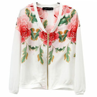FREE SHIPPING 2013 models fall flower print chiffon sleeve women's jacket coat
