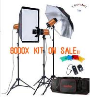 Free shipping 2013Godox 750w photography lighting kit, 3 flashlight,1 soft box, 1 flash umbrella, 3 light stand, 1 flash trigger