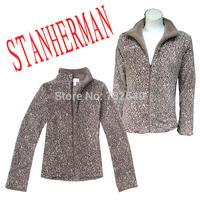 At home service autumn and winter women's leopard print zipper-up coral fleece sleepwear women's outerwear