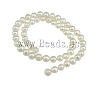 Free shipping!!!Round Cultured Freshwater Pearl Beads,quality, natural, white, 7-8mm, Hole:Approx 0.8mm, Length:15 Inch