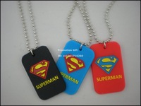 "Superman Dog Tag Necklace, Fashion Pendant Necklace with 24"" ball chain, 3colours, 50pcs/lot, free shipping"