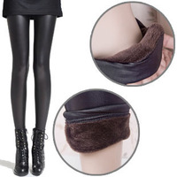 W222 thermal thickening velvet legging faux leather female lace ankle length trousers boot cut jeans 230g
