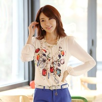 2013 autumn casual print chiffon patchwork shirt lantern long-sleeve slim shirt women's top summer