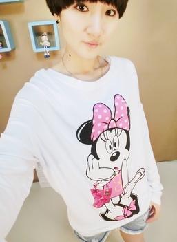 Korean ' 2013 spring women's MICKEY MOUSE cartoon large loose batwing sleeve long-sleeve T-shirt female