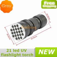 Waterproof New Ultra Violet Lamp Backlight 21 Led UV Flashlight Torch Gray 3*AAA Battery free shipping wholesales
