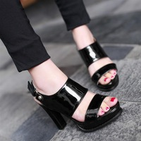 Muji high quality after hasp PU japanned leather female sandals 2013 2013ol ultra high heels platform