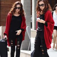 Cashmere cape sweater cardigan sweater female long design loose plus size autumn fashion