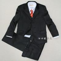 2013 New Fashion  balck pinstripe formal  five pcs boy suit free shipping