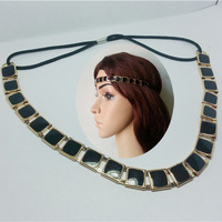 2013 hot sale new design lady's Classic golden metal Sequins Elastic headband black white color Hair chain head Jewelry