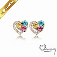 Free Shipping+11 Colors Gold Plated Mutual affinity Crystal Earrings With SWA Elements Crystal Fit For The Evening Dress