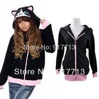 2013 Free Shipping Japan Cute Sweatshirt Costume Cosplay Hoodies Ears Face Tail Zip Hoody Black cat