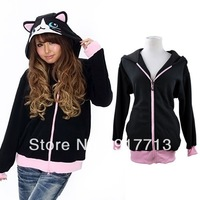2013 Free Shipping Japan Kigurumi Sweatshirt Costume Cosplay Hoodies Ears Face Tail Zip Hoody Black cat