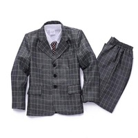 Free shipping Suit for boys plaid blazer 2014 new children's long sleeve suit formal boys'suit