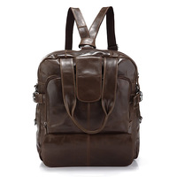 Classic Fashion Design 100% Genuine Vintage Leather Multifunctional Men's  Laptop Backpack Travel Handbag Messenger Bag Purse