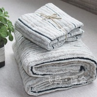 100% cotton plaid stripe towel bath towel brief all-match muji high quality