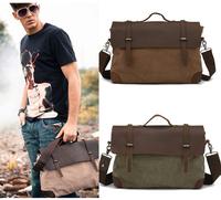 Mens male Vintage Canvas Leather School Military Shoulder Bag Messenger Laptop Bag 1078