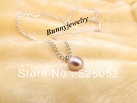 "Min.order is $10(mix order) Free shipping! Natural 8mm Purple Waterdrop Pearl Necklace 18"" Silver Plated Chain Fit Gift"