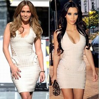 Women's Bandage Dress Flocking V-Neck Sleeveless Side Ruffles Sexy Celebrity Party Mini Vest Dresses Black Beige Colors